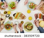 view from above of friends...   Shutterstock . vector #383509720