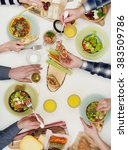 view from above the table of... | Shutterstock . vector #383509786