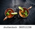 two moscow mules shot in flat... | Shutterstock . vector #383511238