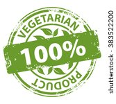 vegetarian product 100 percent... | Shutterstock .eps vector #383522200