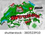 illustrated map of switzerland | Shutterstock .eps vector #383523910