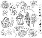 beautiful doodle flower set... | Shutterstock .eps vector #383525878
