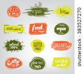 labels with vegetarian and raw... | Shutterstock .eps vector #383527270