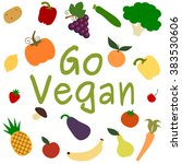 go vegan vector card background ...   Shutterstock .eps vector #383530606