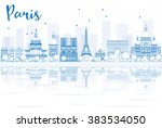 outline paris skyline with blue ... | Shutterstock .eps vector #383534050