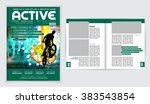 cover sport active magazine ... | Shutterstock .eps vector #383543854