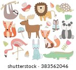 cute animal doodles isolated... | Shutterstock .eps vector #383562046