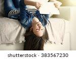 beautiful girl with digital...   Shutterstock . vector #383567230