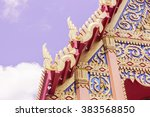 Side details of Roof Thai Buddhist Church, Phuket, Thailand - stock photo