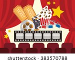 popcorn box film strip ticket... | Shutterstock . vector #383570788