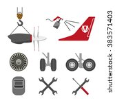 set of aircraft parts on white... | Shutterstock .eps vector #383571403