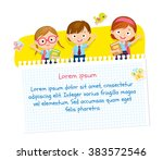 children design with pupils in... | Shutterstock .eps vector #383572546
