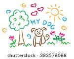 children drawing multicolored... | Shutterstock .eps vector #383576068