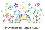 children drawing multicolored... | Shutterstock .eps vector #383576074