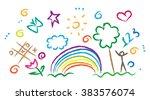 children drawing multicolored... | Shutterstock .eps vector #383576074