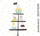 happy birthday card with set of ... | Shutterstock .eps vector #383576098