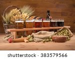 beer crate with many different... | Shutterstock . vector #383579566