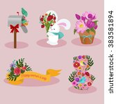 spring and 8 march vector... | Shutterstock .eps vector #383581894