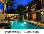 modern tropical villa with... | Shutterstock . vector #383585188