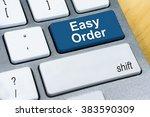 written word easy order on blue ...