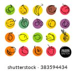 vector hand drawn fruits sketch.... | Shutterstock .eps vector #383594434