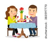 couple having dinner in a... | Shutterstock .eps vector #383597770