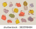 set of colorful fruits | Shutterstock .eps vector #383598484