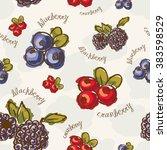 seamless berries pattern | Shutterstock .eps vector #383598529