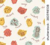 seamless fruits pattern | Shutterstock .eps vector #383598538