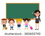 teacher and school kids | Shutterstock .eps vector #383603740