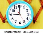 wall clock on the wood... | Shutterstock . vector #383605813