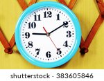 wall clock on the wood... | Shutterstock . vector #383605846