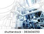 wireframe computer cad design... | Shutterstock . vector #383606050