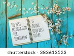 open notebook over wooden table ... | Shutterstock . vector #383613523