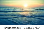 panorama of beautiful sunset on ... | Shutterstock . vector #383613760
