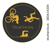 gold logo triathlon. triathlete ... | Shutterstock .eps vector #383614204