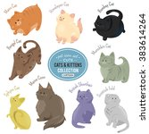 cute cats and kittens icons.... | Shutterstock .eps vector #383614264