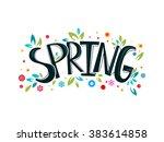spring lettering design logo.... | Shutterstock .eps vector #383614858
