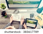 designer's desk with responsive ... | Shutterstock . vector #383617789