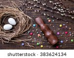 traditional easter eggs on a...   Shutterstock . vector #383624134