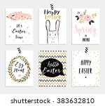 set of 6 cute easter greeting... | Shutterstock .eps vector #383632810