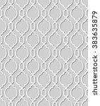 vector damask seamless 3d paper ... | Shutterstock .eps vector #383635879