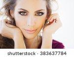 beautiful young woman portrait... | Shutterstock . vector #383637784