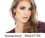 beautiful young woman portrait...   Shutterstock . vector #383637790