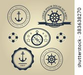 set nautical theme logos.... | Shutterstock .eps vector #383638270