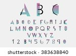 black alphabetic fonts and... | Shutterstock .eps vector #383638840
