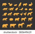 Stock vector gold silhouettes set of domestic farm and wild animals icon cow bear beaver sheep chicken and 383649619
