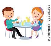 couple dating. vector... | Shutterstock .eps vector #383651998