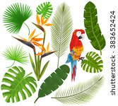 tropical leaves  flowers and... | Shutterstock .eps vector #383652424