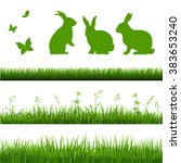 grass borders set with rabbits | Shutterstock .eps vector #383653240